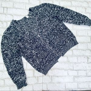 Divided By H&M Black/White Half-Zip Sweater Sz 8